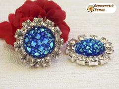 Камни ежики круглые в стразовом обрамлении синие (10 шт)
