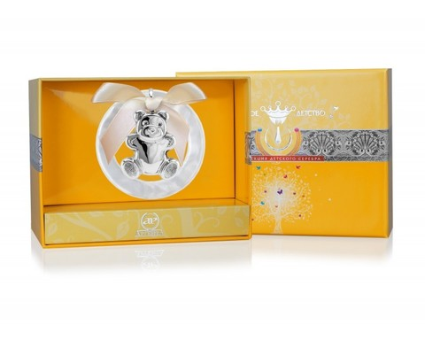Серебряная погремушка «Мишутка» на кольце