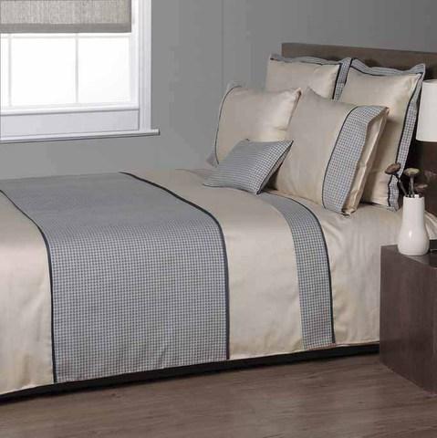 Постельное белье 2 спальное евро Bovi Chanel песочное-синее