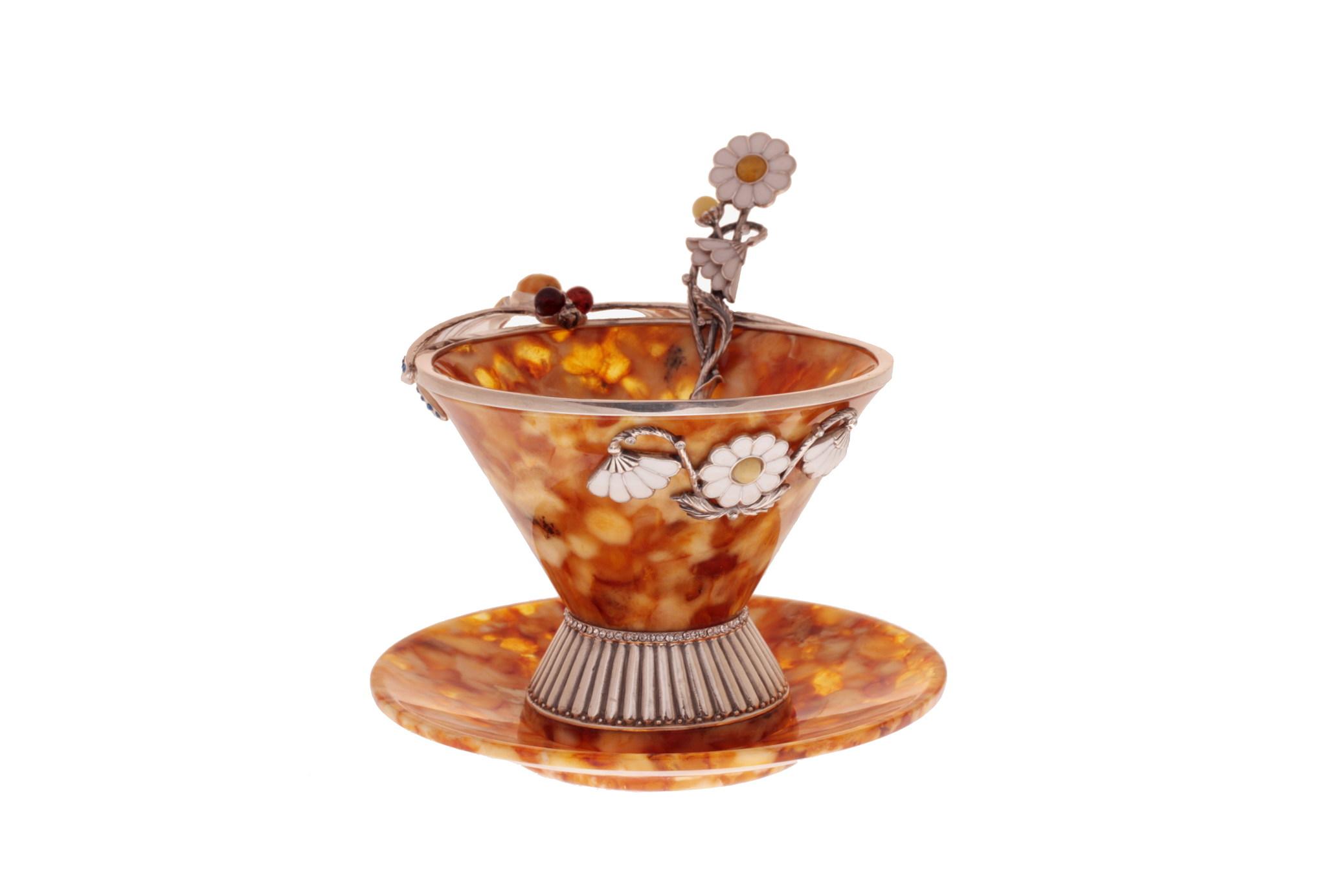 """Чайная янтарная чашечка в наборе с блюдцем и ложечкой, серия """"Летнее настроение"""" от 30 925 руб"""