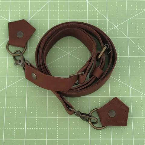 Ремень для сумки  натуральная кожа (коричневый)