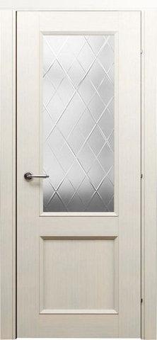 Дверь Краснодеревщик 3324, цвет беленый дуб, остекленная