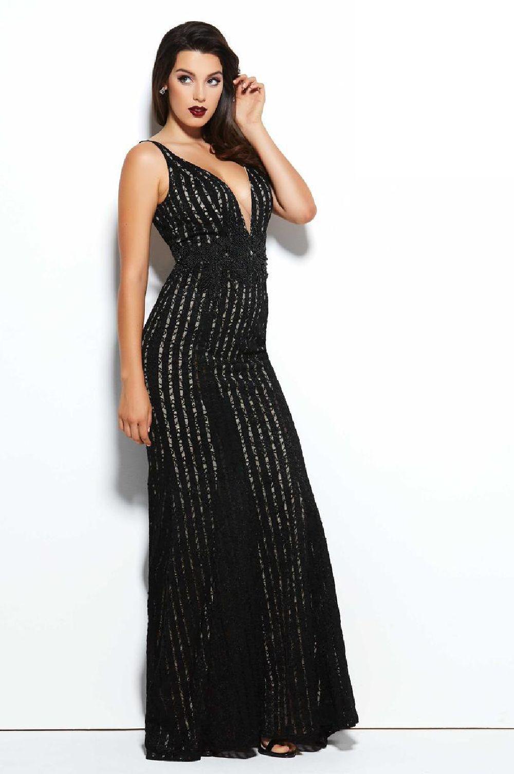 Mac Duggal 221 платье в пол, расшитое бисером, V-образный вырез