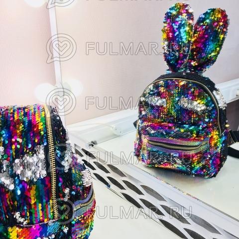 Рюкзак с пайетками и ушами Заяц меняет цвет Радужный-Серебристый