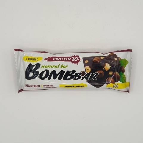 Батончик Natural Bar вкус Шоколад-Фундук BOMBBAR, 60 гр
