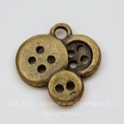 """Подвеска """"Пуговицы"""" (цвет - античная бронза) 15х14 мм"""