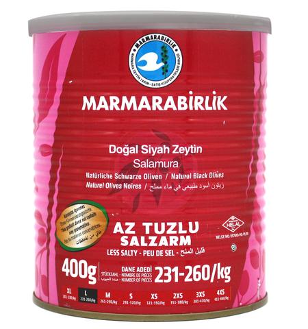 Оливки черные слабосоленые в рассоле L, Marmarabirlik, 400 г