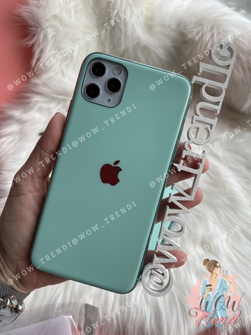 Чехол iPhone 11 Pro Max Glass Silicone Case Logo matte /beryl/