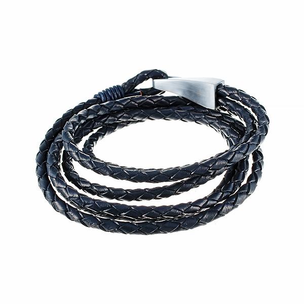 Кожаный браслет тёмно-синий намотка 6в1 JV 230-0112