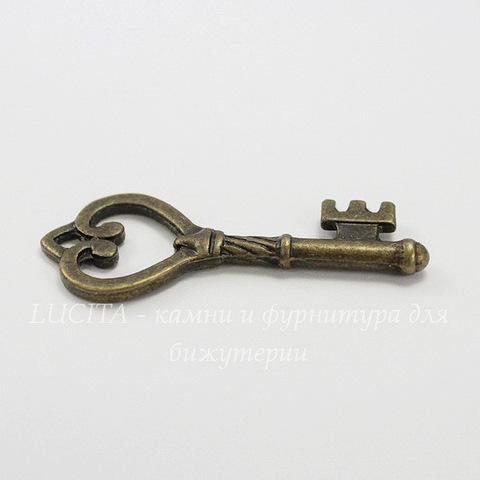 """Подвеска """"Ключик с сердцем"""" 45х18 мм (цвет - античная бронза)"""