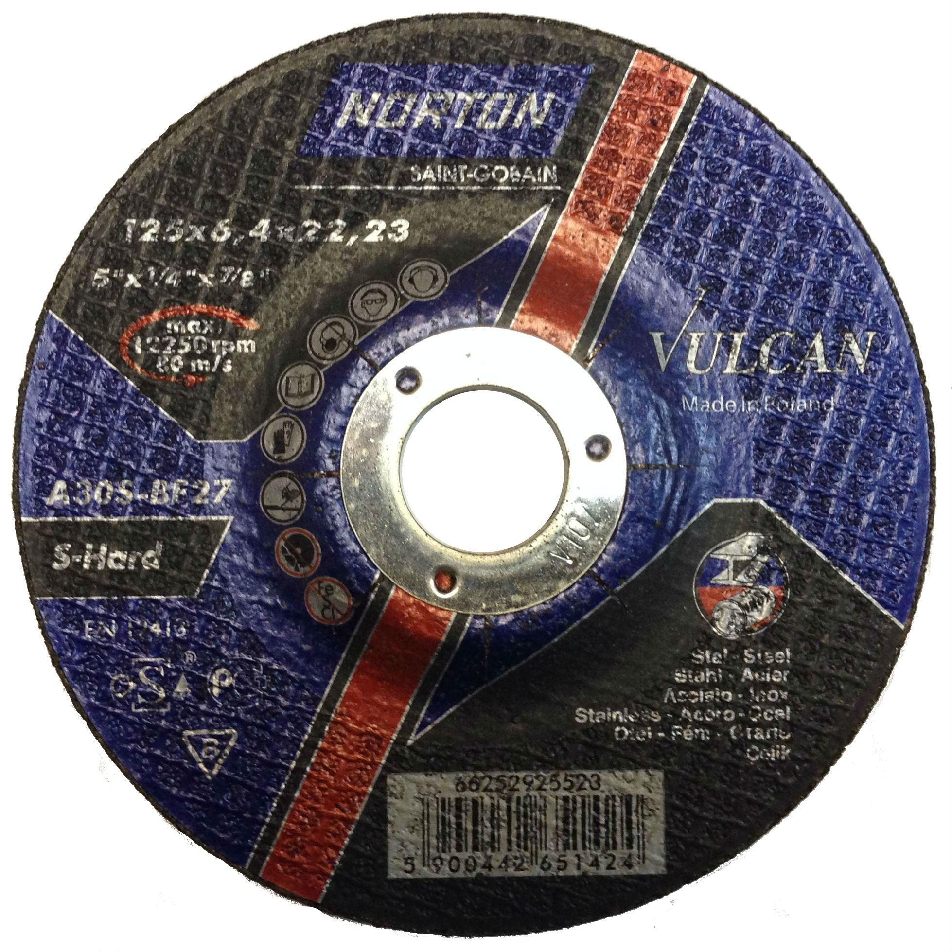Шлифовальный диск по металлу и нержавеющей стали NORTON 125х6,4х22,23