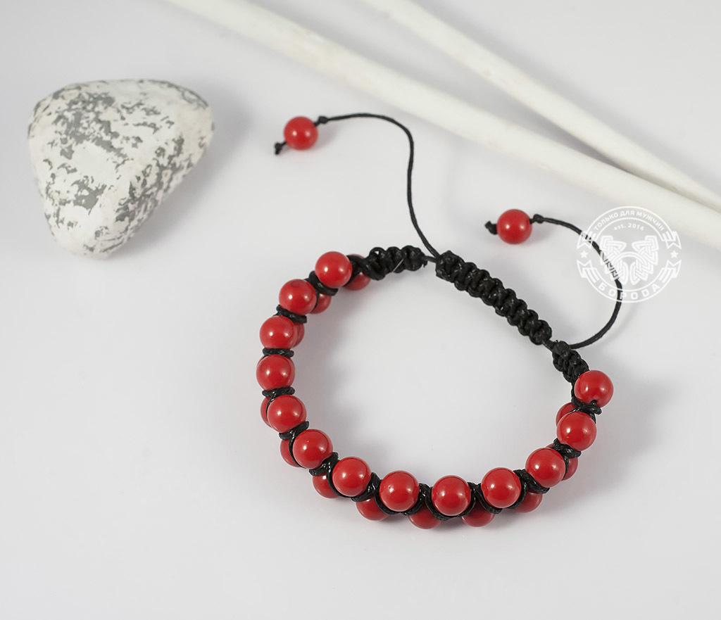 BS661 Яркий мужской браслет шамбала красного цвета из коралла. «Boroda Design» фото 02