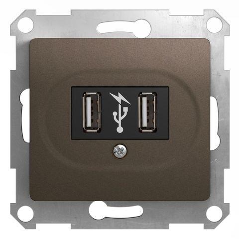 USB Розетка, 5В/1400 mA, 2 x 5В/700 mA. Цвет Шоколад. Schneider Electric Glossa. GSL000832