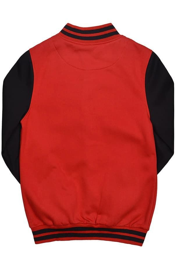 Бомбер красный с черным фото спина