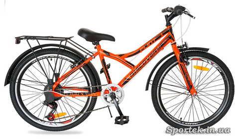 Оранжево-черный подростковый велосипед Discovery Flint MC с колесами 24 дюйма