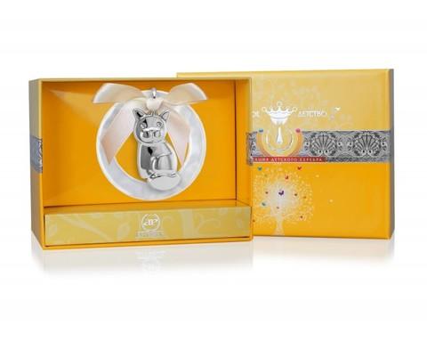 Серебряная погремушка «Котик» на кольце