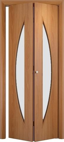 Дверь складная Верда С-6 (2 полотна), белое матовое, цвет миланский орех, остекленная