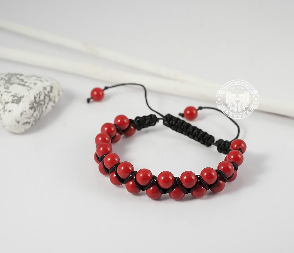 BS661 Яркий мужской браслет шамбала красного цвета из коралла. «Boroda Design» фото 03