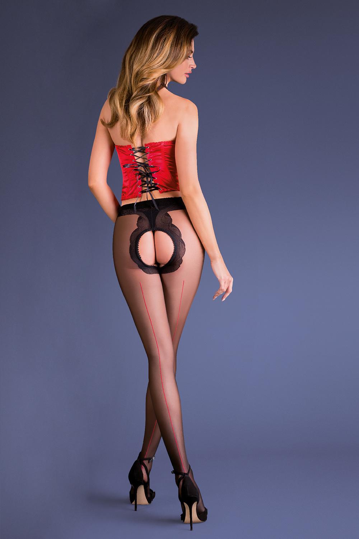 Эротичные колготки с доступом черно-красные (Фантазийные колготки)