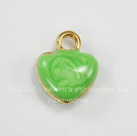 """Подвеска с эмалью """"Зеленое сердечко"""" 11х10 мм (цвет - золото)"""