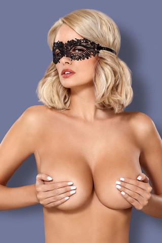 Кружевная эротическая маска черного цвета Masquera