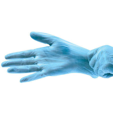 Перчатки одноразовые виниловые, голубые, 3,5 г. (100 шт/уп)
