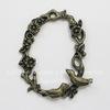 """Подвеска овальная """"Птички на ветке"""" (цвет - античная бронза) 44х37 мм"""