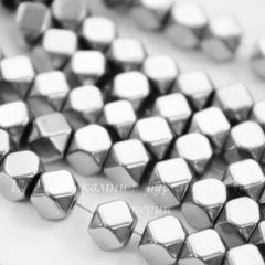 Бусина Гематит немагнитный (искусств, Категория A), многогранник, цвет - серебро, 4х4 мм, нить