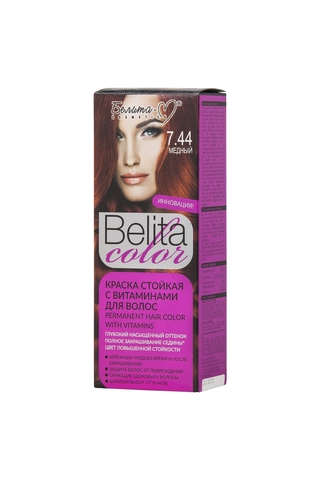 Белита-М Belita Color Стойкая краска с витаминами для волос тон №7.44 Медный