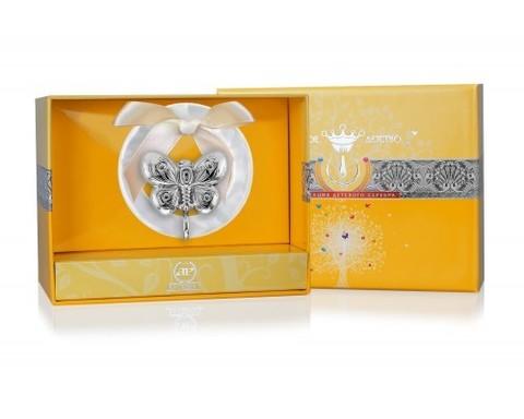 Серебряная погремушка «Бабочка» на кольце