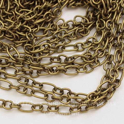 Цепь 3:1 (цвет - античная бронза) 6,5х3,5 мм, 4х3,5 мм, примерно 10 м