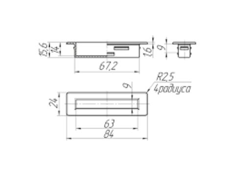Латодержатель врезной 63 мм углублением 17 мм