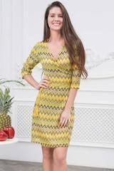 Платье c запахом трикотажное желтое