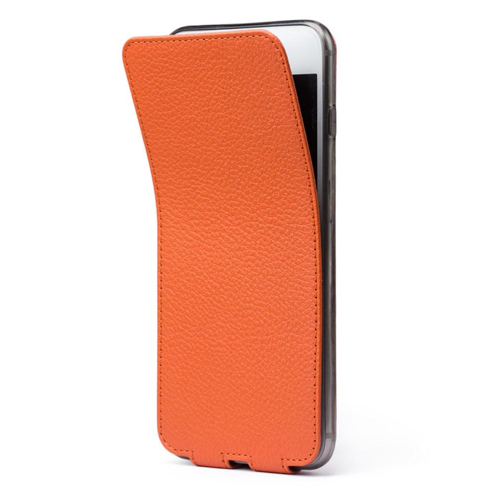 Чехол для iPhone 8 Plus из натуральной кожи теленка, оранжевого цвета