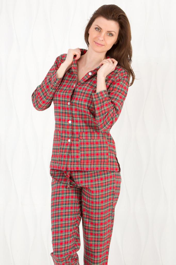 Фланелевая женская пижама в клетку Pellegrini