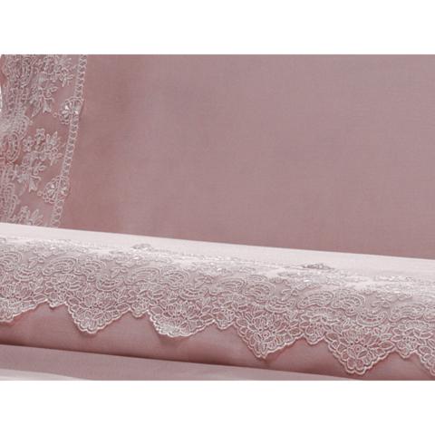 Постельное белье MINOSO пудра с кружевом TIVOLYO HOME Турция