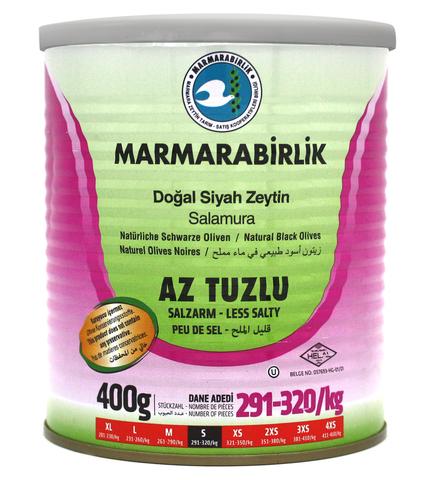 Оливки черные слабосоленые в рассоле S, Marmarabirlik, 400 г