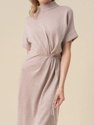 Женское бежевое платье из 100% шерсти - фото 3