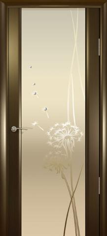 Дверь Океан Гламур Шторм-3, стекло белое с рисунком, цвет венге, остекленная
