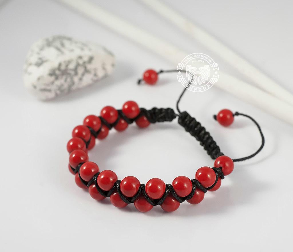 BS661 Яркий мужской браслет шамбала красного цвета из коралла. «Boroda Design» фото 04
