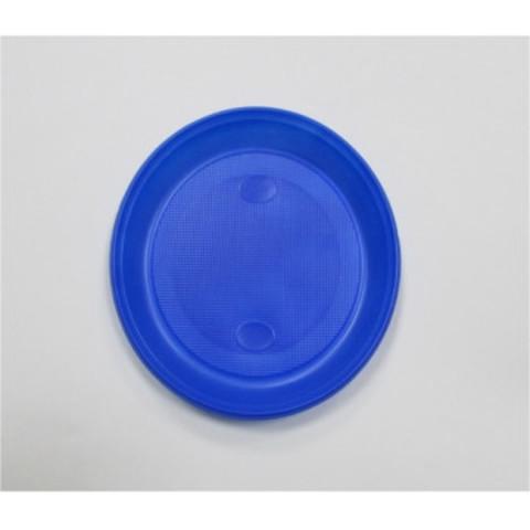 Тарелка одноразовая d 210мм, синяя, ПС 12шт/уп