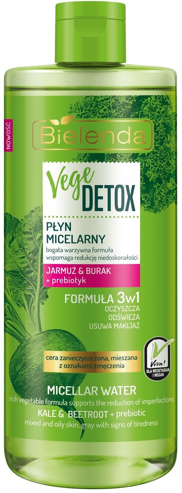 VEGE DETOX Нормализующая мицелярная вода, смешанная кожа, капуста кале+свекла+пребиотик, 500 мл
