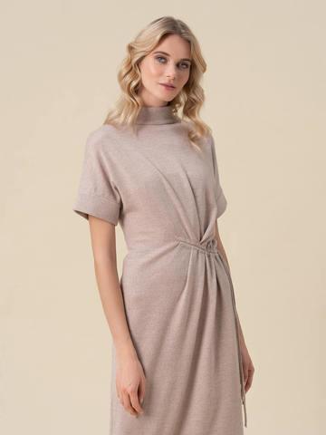 Женское бежевое платье из 100% шерсти - фото 4