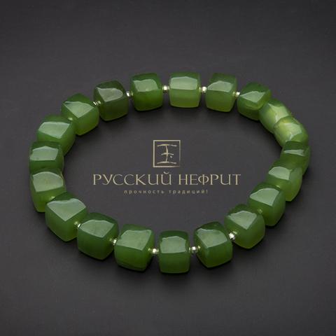 Авторский браслет из зелёного нефрита