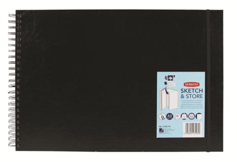Блокнот для зарисовок Sketch&Store 165г/кв.м А3 29.7*42см 56л пейзаж твердая обложка спираль черный
