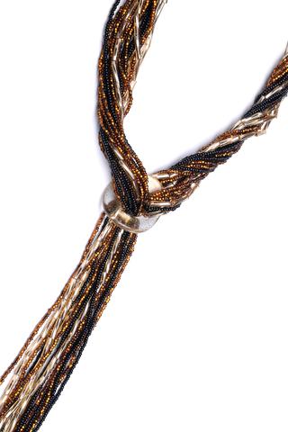 Бисерный галстук, 18 нитей, золотисто-черный