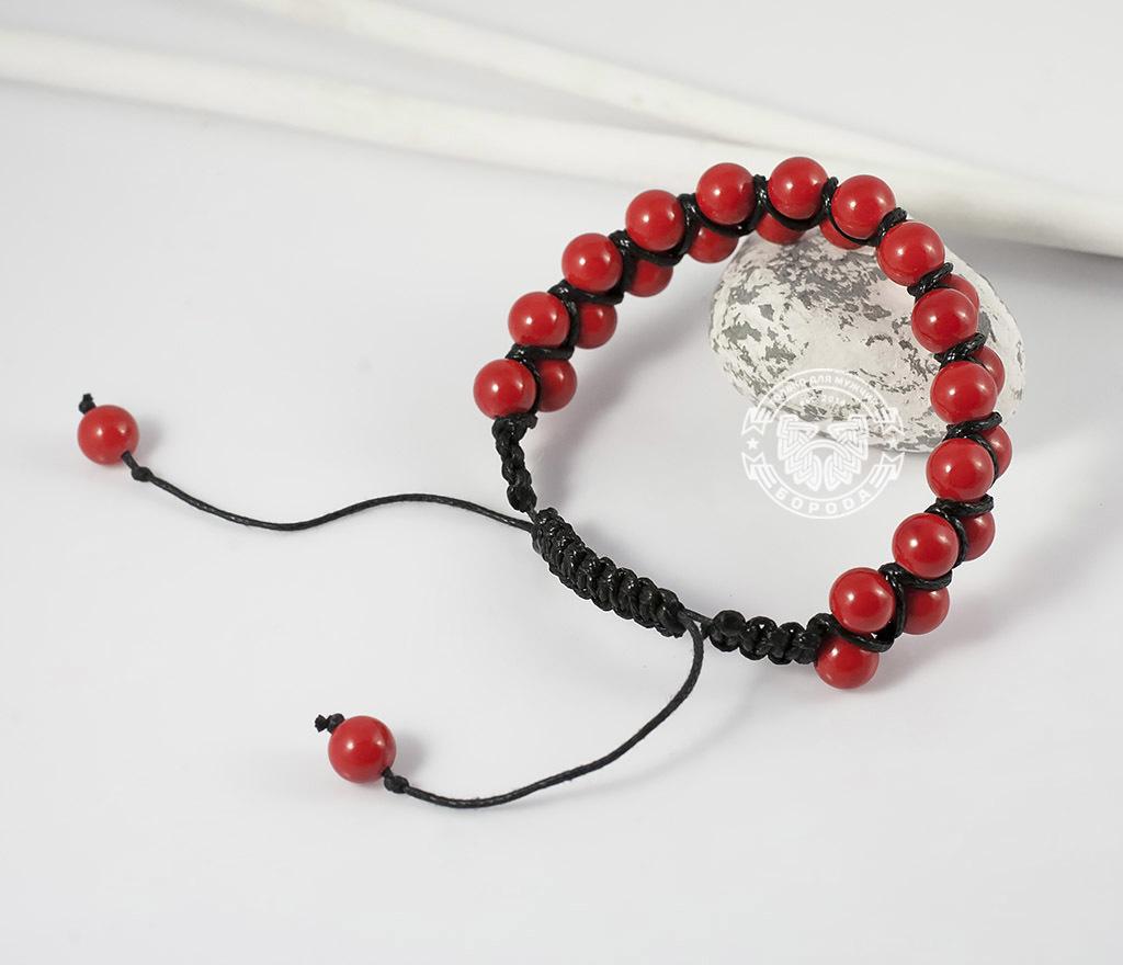 BS661 Яркий мужской браслет шамбала красного цвета из коралла. «Boroda Design» фото 05