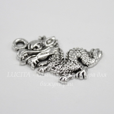 "Подвеска ""Дракон"" 19х13 мм (цвет - античное серебро)"