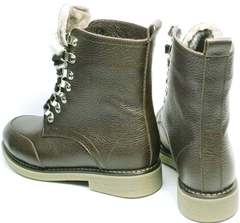 Высокие ботинки из натуральной кожи женские зимние Studio27 576c Broun.