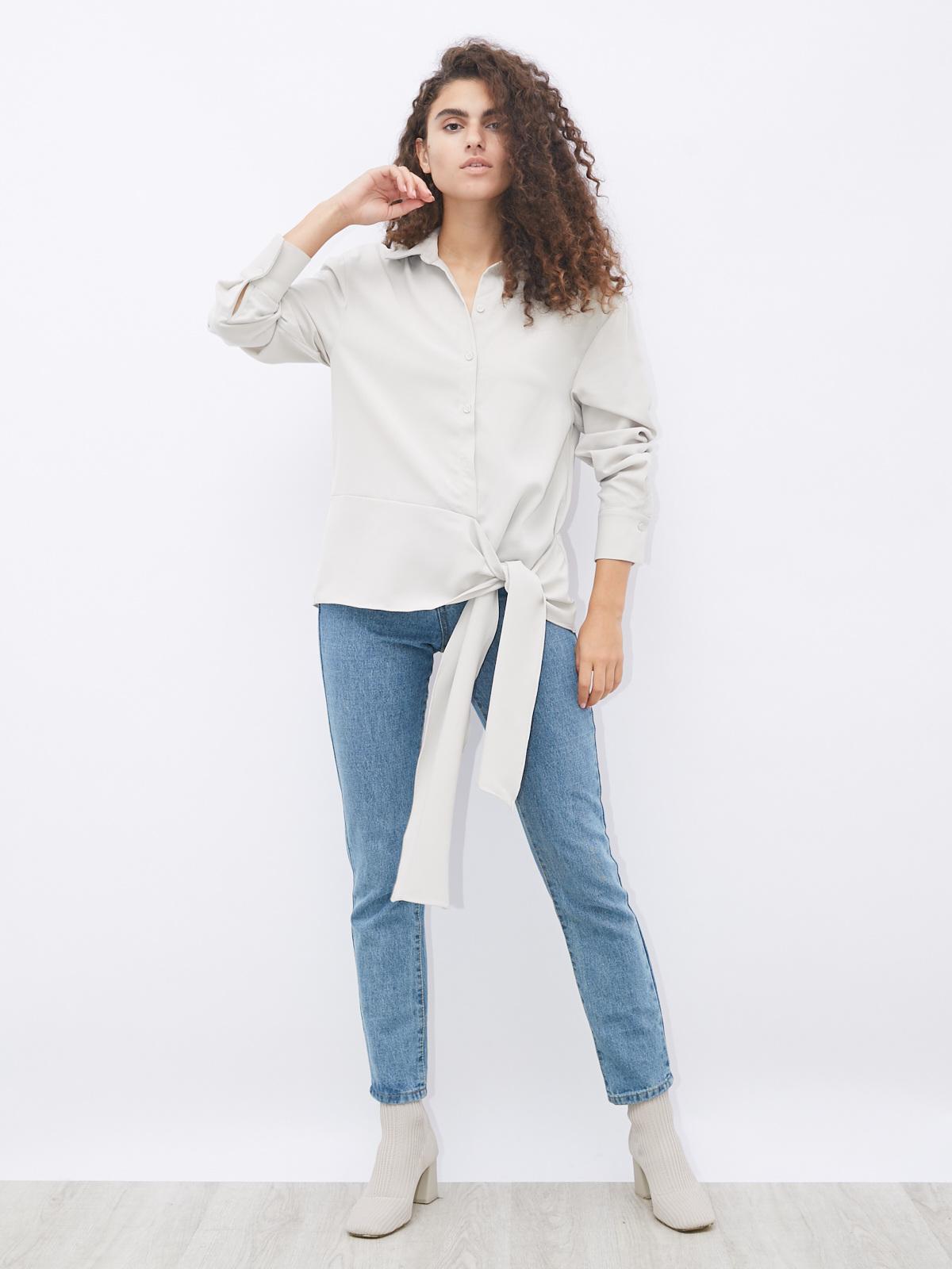 Блуза на пуговицах и с завязкой сбоку